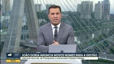 João Doria anuncia novos nomes para a gestão - Lista traz novo secretário de transportes e nomes para Cetesb e Sabesp