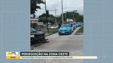 Pedestre é ferido durante perseguição policial na Zona Oeste - Policiais do batalhão de Jacarepaguá estavam procurando um carro que havia sido roubado na Barra da Tijuca, eles descobriram que bandidos circulavam com o veículo na Cidade de Deus. Houve perseguição e os bandidos foram presos.