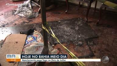Incêndio atinge prédio no bairro Dois de Julho em Salvador - As causas do fogo ainda não foram identificadas pelos bombeiros.