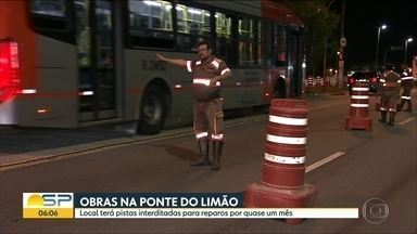 Ponte do Limão deve ficar interditada por quase um mês - Obras são de reparação de buraco.