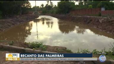 Moradores do bairro Recanto das Palmeiras temem nova enchente após chuvas - Moradores do bairro Recanto das Palmeiras temem nova enchente após chuvas