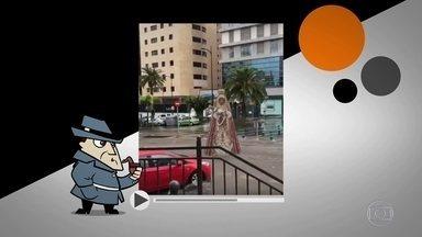 Detetive Virtual esclarece vídeo de imagem de santa levada por enxurrada - Nas imagens, carros chegam a desviar para não bater na santa e ela segue abaixo, atravessando um cruzamento e indo embora. O que você acha?