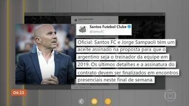 Santos anuncia que tem acordo com o técnico argentino Jorge Sampaoli - Anúncio foi feito em uma rede social.