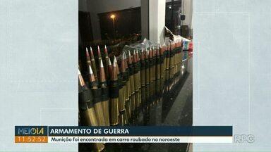 PRE apreende 4,6 mil cápsulas de munição no noroeste do Paraná - Armamento estavam em uma caminhonete roubada. Um homem foi preso.