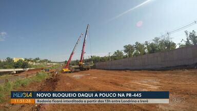 PR-445 será totalmente interditada nesta sexta (14) - O bloqueio será a partir das 13h entre Londrina e Irerê. PRF também vai reforçar patrulhamento em rodovias do estado a partir desta sexta.