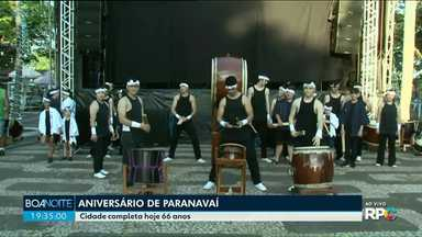 Com direito a 'Parabéns a você', grupo de Taikô homenageia Paranavaí - Eles encerraram a edição do Boa Noite Paraná desta sexta-feira, 14.