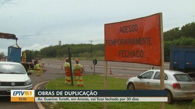 Obras de duplicação interditam avenida em Araras - Acesso pela Avenida Guerino Turatti deve ficar fechado por pelo menos 30 dias.