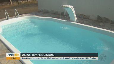 Procura por ventiladores, ar condicionado e piscinas aumenta com o calor em São Carlos - Lojas recebem mercadoria diariamente para dar conta da procura.