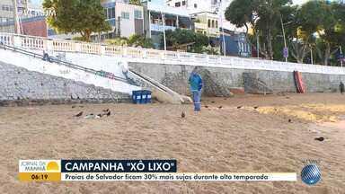 'Xô, lixo': praias de Salvador ficam 30% mais sujas durante o verão - Banhistas deixam nas praias copos, garrafas, restos de comida e até objetos, que agridem todo o meio ambiente.