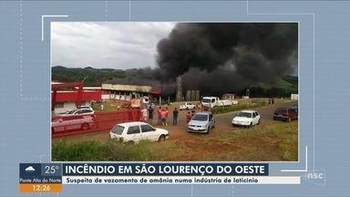 Incêndio atinge fábrica de laticínios em São Lourenço do Oeste - Incêndio atinge fábrica de laticínios em São Lourenço do Oeste