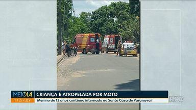 Criança atropelada em Paranavaí está em estado grave - Menino precisou passar por uma cirurgia depois de ser atropelado no Jardim Ipê.