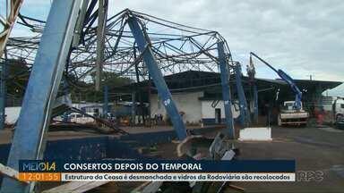 Estrutura metálica destruída durante temporal é desmanchada na Ceasa - A previsão para voltar a usar o espaço é de noventa dias.