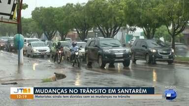 Mudanças em sinalizações de cruzamentos de Santarém causam transtornos a motoristas - Trechos onde fluxo é intenso têm ficado com trânsito lento após mudanças de sentido de ruas e novos semáforos.