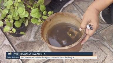 São Vicente é a cidade com maior risco de dengue na Baixada - Levantamento foi feito pelo Ministério da Saúde e mostra a quantidade de focos.