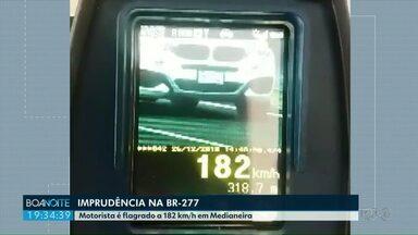 Motorista é flagrado a 182 km/h em trecho da BR-277 - O limite máximo permitido é de 110 km/h