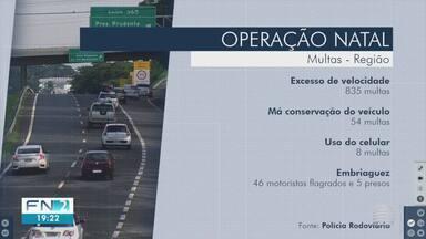 Mais de 800 motoristas são multados por excesso de velocidade no Oeste Paulista - Autuações foram feitas nas estradas durante a Operação Natal.