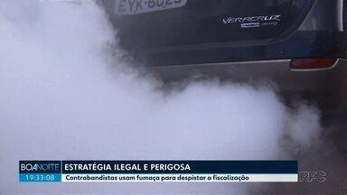 Contrabandistas usam fumaça para despistar fiscalização na fronteira com o Paraguai - Estratégia é ilegal e perigosa