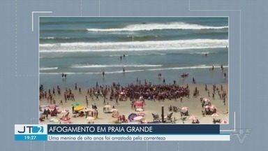 Menina de 8 anos morre ao ser levada pela correnteza em Praia Grande - Ela estava com outra criança, quando ambas começaram a se afogar