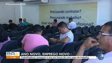 No primeiro dia útil do ano, desempregados buscam oportunidade de emprego em Salvador - As oportunidades podem ser consultadas através do G1 e também no sites que fazem intermediação de mão de obra.