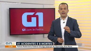 Polícia Rodoviária Federal divulga balanço da Operação Ano Novo - Foram registrados 41 acidentes e oito mortes nas estradas federais que cortam a Bahia.