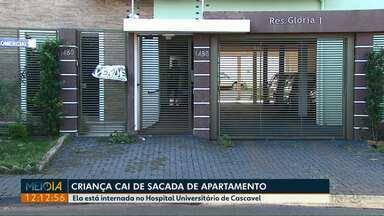 Criança cai do segundo andar de um prédio em Cascavel - Ela está internada no HU da cidade