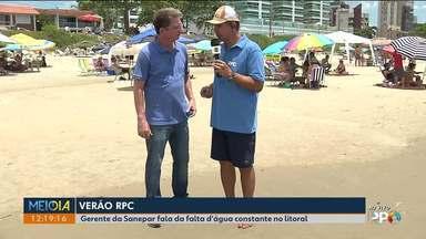 Veranistas reclamam da frenquente falta d'água no litoral - O gerente da Sanepar garantiu que a situação vai melhorar ainda durante a temporada