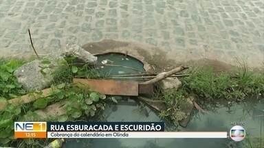 Moradores reclamam de buracos e de falta de iluminação em rua de Olinda - Localidade no bairro de São Benedito causa dificuldades de acesso a casas e ao Terreiro de Xambá.