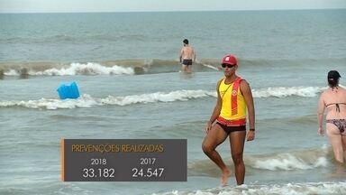 Veja balanço da Operação Verão dos Bombeiros nas praias gaúchas - Salvamentos e prevenções registraram aumento em função dos feriados de muito calor e mar calmo. Na praia do Cassino, movimento é intenso mesmo em dias de tempo nublado.