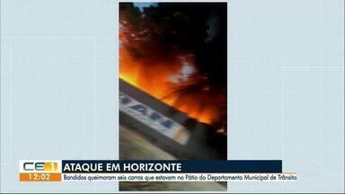 Ataque em Horizonte: 6 carros queimados no pátio do departamento municipal de trânsito - Confira outras notícias no g1.globo/ce