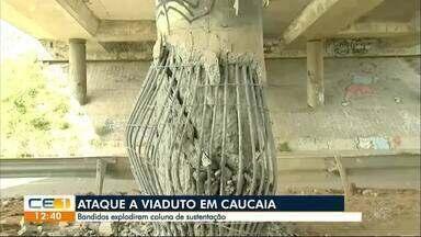 Bandidos explodem coluna de viaduto na BR-020, em Caucaia - Confira outras notícias no g1.globo/ce