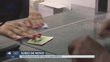 Justiça derruba liminar e autoriza reajuste das tarifas em BH - Tarifa principal em BH volta a custar R$ 4,50