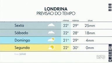 Chuva deve aumentar na região de Londrina - Previsão de tempo instável segue até domingo (6).