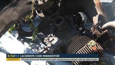 Homem morre em acidente com paramotor em Arapongas - O equipamento em que ele estava bateu contra uma rede de alta tensão.