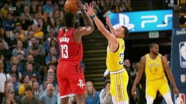 Harden é decisivo em vitória dos Rockets sobre os Warriors pela NBA - Harden é decisivo em vitória dos Rockets sobre os Warriors pela NBA