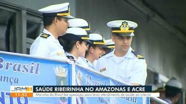 Barco hospitalar da Marinha do Brasil oferece atendimento a comunidades no AM - Vinte mil pessoas devem ser atendidas.