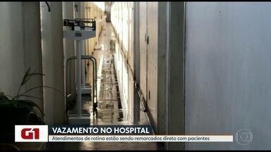 Rompimento de tubulação de água afeta atendimento no Hospital Universitário do Fundão - Os atendimentos de rotina estão sendo remarcados direto com pacientes.