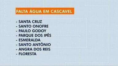 Vai faltar água em alguns bairros de Cascavel - A previsão é que o reabastecimento volte ao normal às 20h.