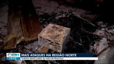 Incêndio destroi prédio de emissora de rádio em Morrinhos - Outras informações no g1.com.br/ce