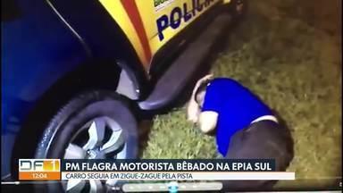 Motorista bêbado é flagrado na Epia Sul - Carro seguia em zigue-zague pela pista, próximo à Candangolândia, quando foi abordado pelos policiais. Motorista não conseguia ficar em pé. Não foi possível fazer o bafômetro. O homem foi preso em flagrante e levado para a delegacia.