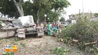 Motorista perde controle de caminhão e veículo destrói praça na Zona Oeste do Recife - Acidente ocorreu na madrugada desta sexta-feira (11), no quilômetro 68,5 da BR-101.