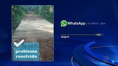 Prefeitura de Ipiguá e Mirassolândia consertam ponte quebrada há 4 meses - Após reclamações. as prefeiruras de Ipiguá (SP) e Mirassolândia (SP), se uniram para consertar ponte.