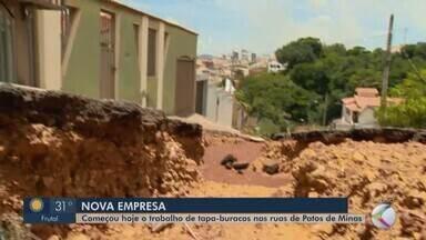 Nova empresa é contratada para tapar buracos em Patos de Minas - Moradores falam sobre problema nas ruas da cidade. Secretário de Obras esclarece sobre investimento e manutenção que será feita.