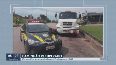 Polícia prende suspeito de roubar caminhão-tanque em Betim - Segundo o suspeito, carga de combustível, que tinha como destino original Três Corações, seria levada para Contagem.