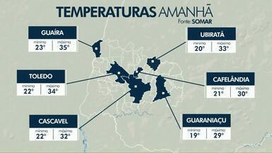 Previsão de chuva para o fim de semana - Em Cascavel o domingo pode ter máxima de 35 graus.
