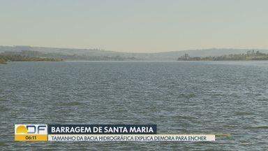 Por que a barragem de Santa Maria demora mais a encher? - Caesb diz que o tamanho da bacia hidrográfica de lá é menor que a do Descoberto.