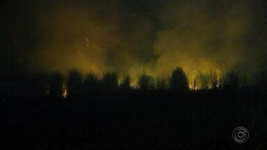 Fumaça provocada por fogo em canavial incomoda moradores da zona leste de Rio Preto - Moradores de São José do Rio Preto (SP) ficaram incomodados com a fumaça provocada por um incêndio na zona leste da cidade.
