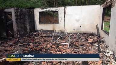 Menina salva irmão de incêndio em Colombo - Ela está internada em estado grave.