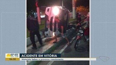 Motorista embriagado provoca acidente em Vitória, ES - Acidente aconteceu na madrugada desta quinta-feira (17). O motorista foi preso.