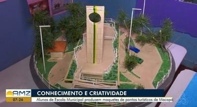 Alunos de escola pública criam maquetes que reproduzem pontos turísticos de Macapá - Peças fizeram parte de exposição realizada na Escola Municipal Paraíso das Acácias, nesta quinta-feira (17).