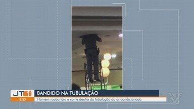 Bandido está entalado há mais de 36 horas em tubulação de shopping em SP - Situação acontece em São Vicente. Criminoso furtou dezenas de smartphones em loja de telefonia.